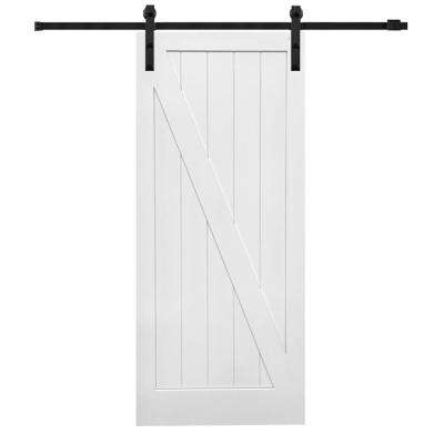 36 in. x 84 in. Primed Composite Z-Plank Barn Door with Matte Black Sliding Door Hardware Kit