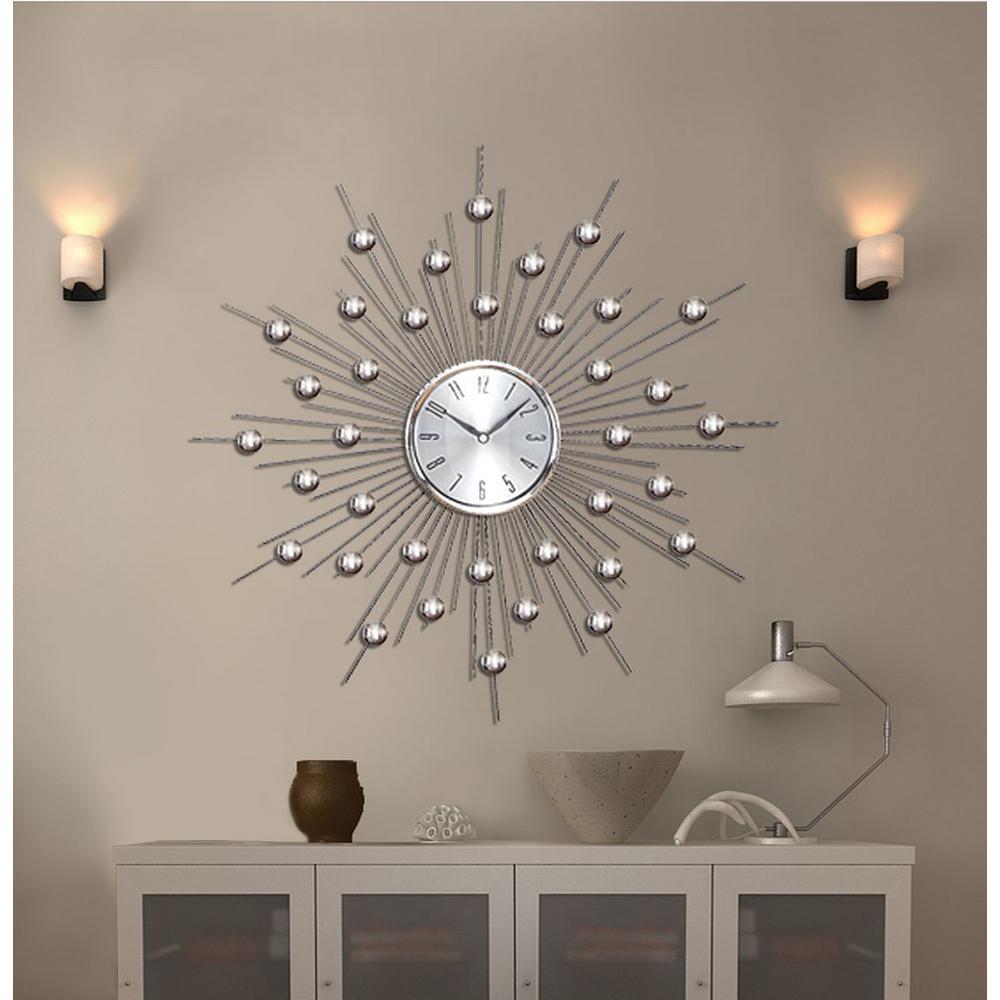Litton Lane 20 In Sunburst Mirrored Wall Clock 66965