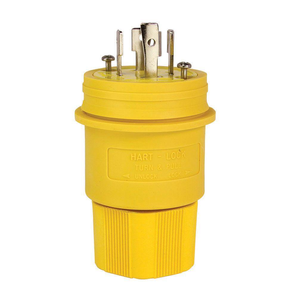 eaton 30 amp 480 volt hart lock watertight plug, yellow l1630pweaton 30 amp 480 volt hart lock watertight plug, yellow