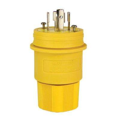30 Amp 480-Volt Hart-Lock Watertight Plug, Yellow
