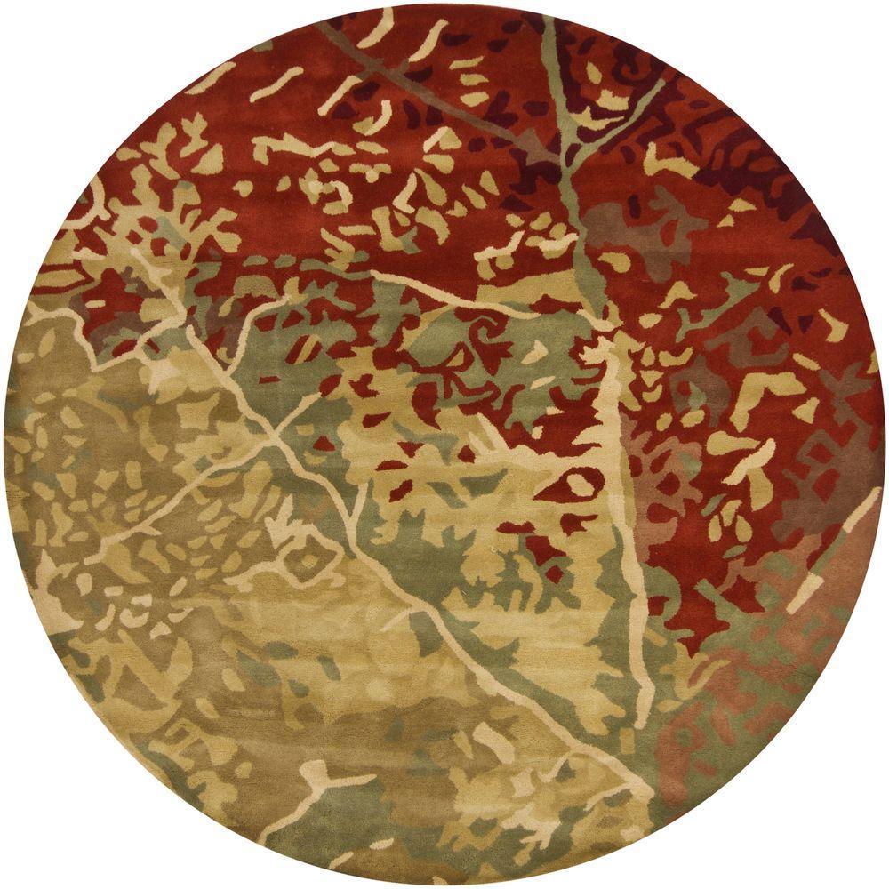 Chandra Nirvana Green Red Burgundy Brown 7 Ft 9 In