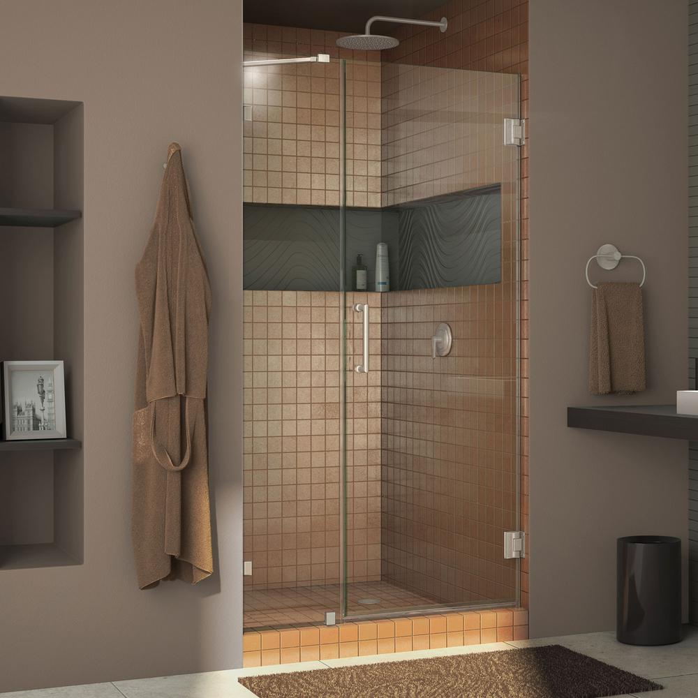 DreamLine Unidoor Lux 46 in. x 72 in. Frameless Pivot Shower Door in Brushed Nickel with Handle