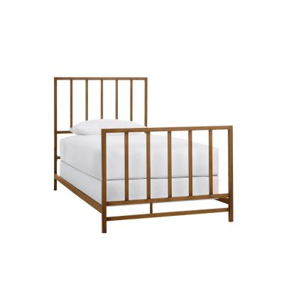 Zandria Brushed Gold Metal Twin XL Bed with Slats (41.1 in W. X 48.03 in H.)