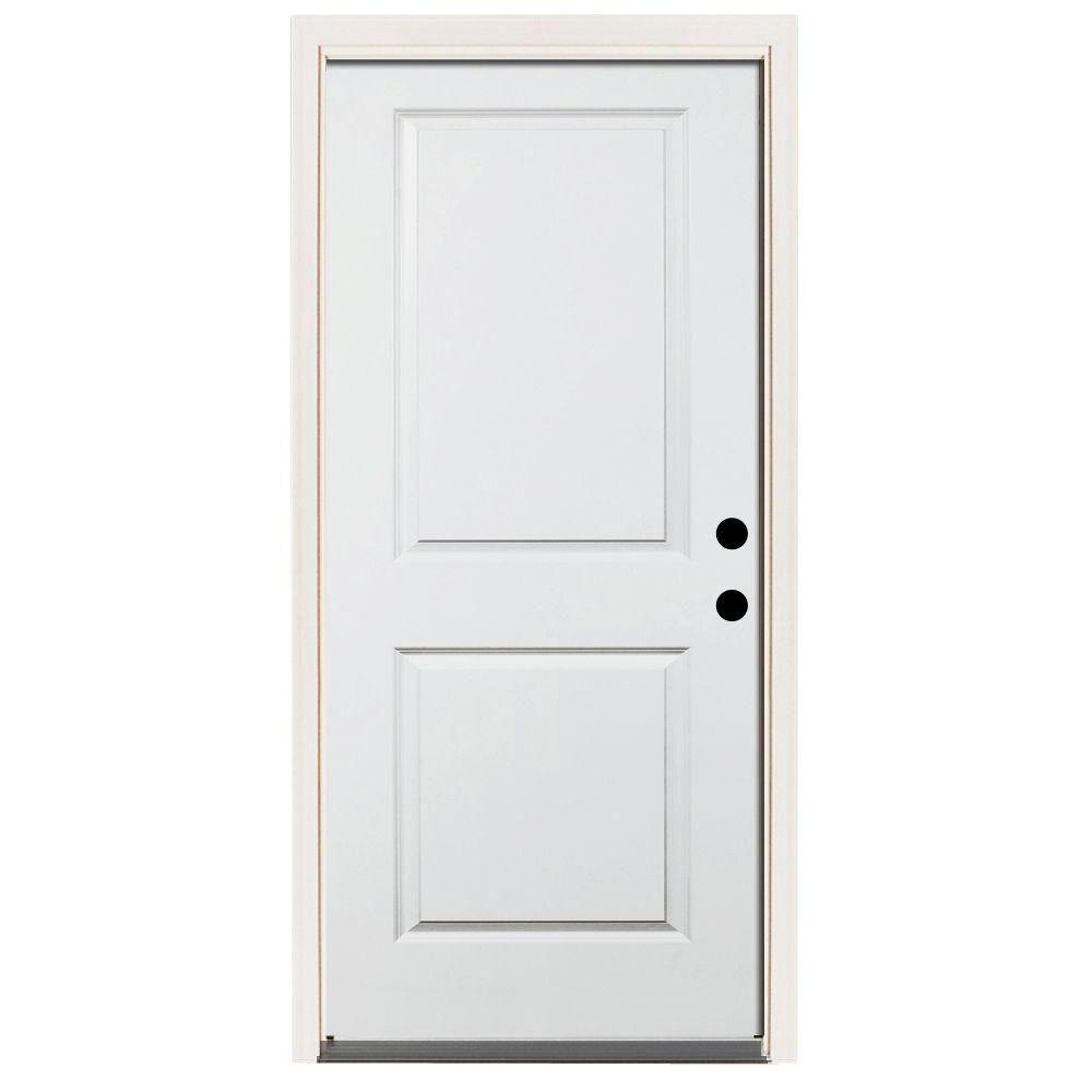 32 in. x 80 in. Premium 2-Panel Primed White Steel Prehung