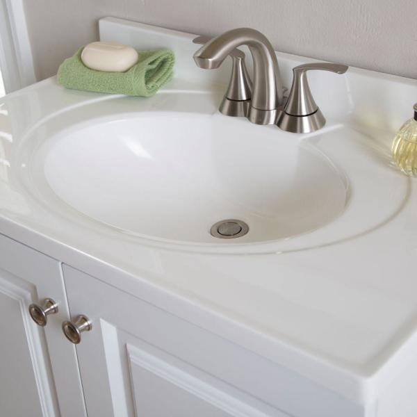 Glacier Bay Newport 31 In Cultured Marble Vanity Top With Sink In White N31gb W The Home Depot