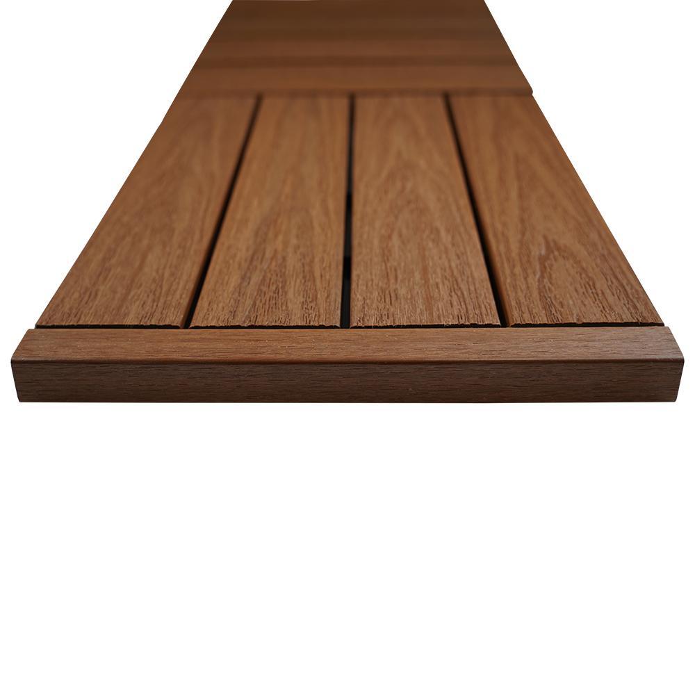 1/6 ft. x 1 ft. Quick Deck Composite Deck Tile Straight Trim in Honduran Mahogany (4-Pieces/Box)