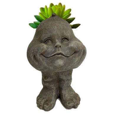 8.5 in. Gray Baby the Muggly Face Statue Planter Holds 3 in. Resin Pot