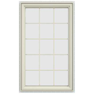 35.5 in. x 59.5 in. V-4500 Series Left-Hand Casement Vinyl Window with Grids - Yellow