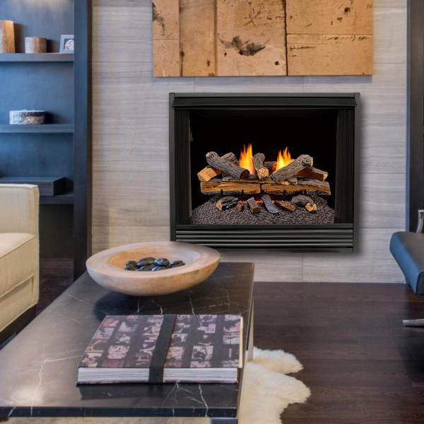 24 in. Vent-Free Gas Fireplace Logs with Remote in Stacked Red Oak