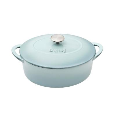 Heritage Pavilion 4.5 qt. Oval Cast Iron Casserole Dish in Blue with Lid