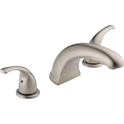 2-Handle Deck-Mount Roman Tub Faucet Trim Kit in Brushed Nickel (Valve Not Included)