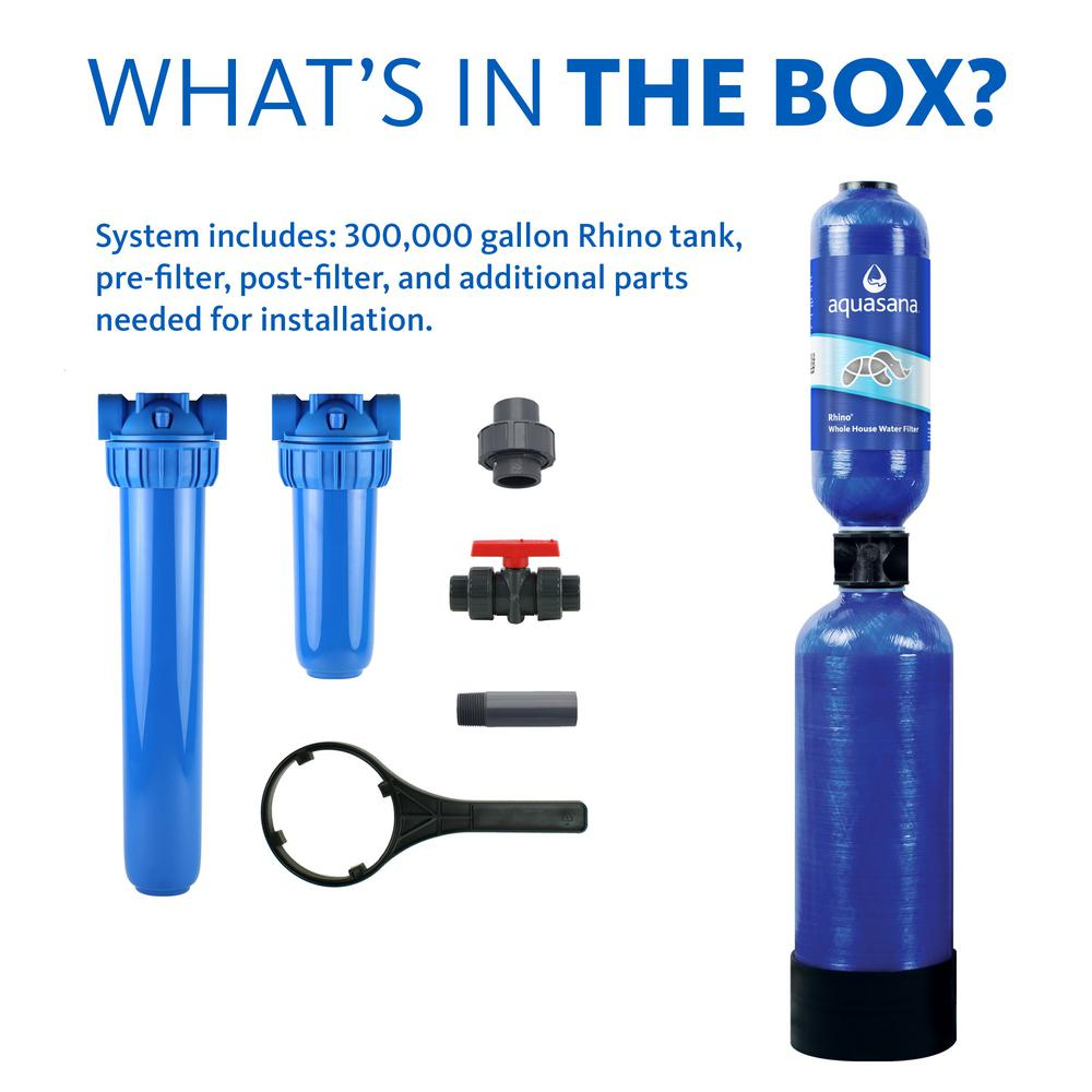 Aquasana Rhino Series 4 Stage 300 000 Gal Whole House Water Filtration System With 20 In Pre Filter