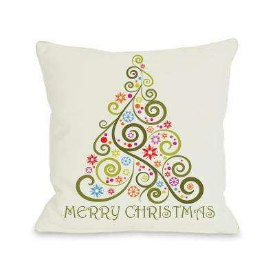 Merry Christmas Whimsical Tree 16 in. x 16 in. Decorative Pillow