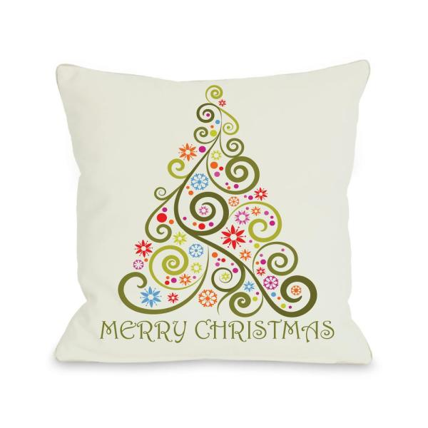 undefined Merry Christmas Whimsical Tree 16 in. x 16 in. Decorative Pillow