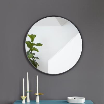 Small Round Black Modern Mirror (1 in. H x 27 in. W)