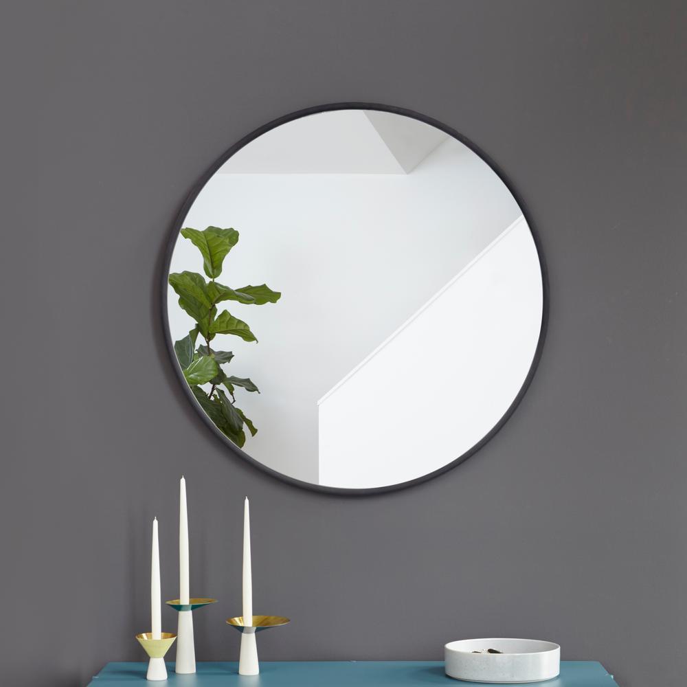 24 in. Black Hub Wall Mirror