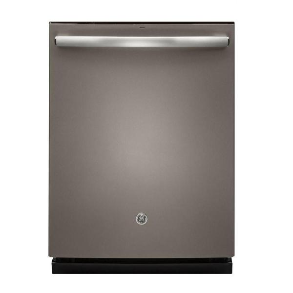 GE Top Control Dishwasher in Slate with Stainless Steel Tub and Steam Prewash, Fingerprint Resistant, 46 dBA