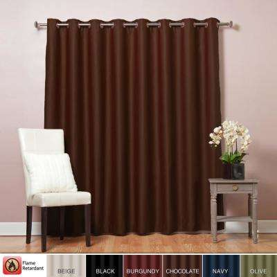 100 in. W x 96 in. L Chocolate Wide Flame Retardant Blackout Curtain Panel