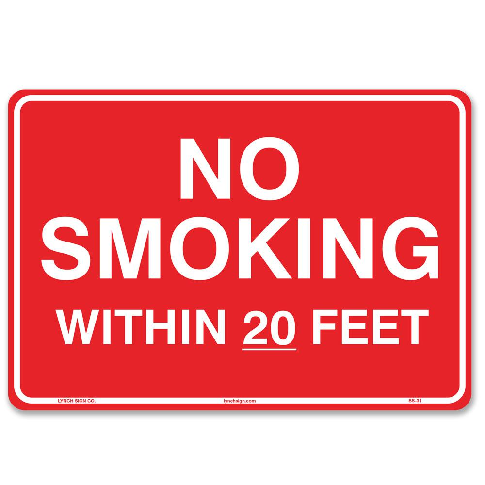 graphic regarding Printable No Smoking Signs named Lynch Indication 10 within just. x 7 inside. No Cigarette smoking In just 20 Toes Indicator Revealed upon Far more Long lasting For a longer period-Permanent Thicker Styrene Plastic.