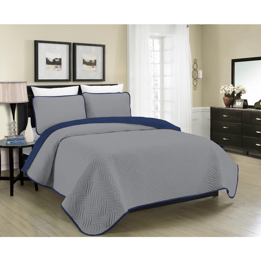 Blissful Living Reversible Austin 3 Piece Grey And Navy Full And Queen  Quilt Set