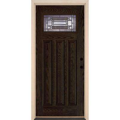 37.5 in. x 81.625 in. Preston Patina Craftsman Lite Stained Walnut Oak Left-Hand Inswing Fiberglass Prehung Front Door
