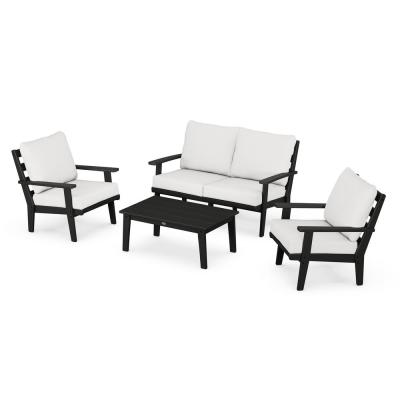 Grant Park Black 4-Piece Plastic Patio Deep Seating Set with Natural Linen Cushions