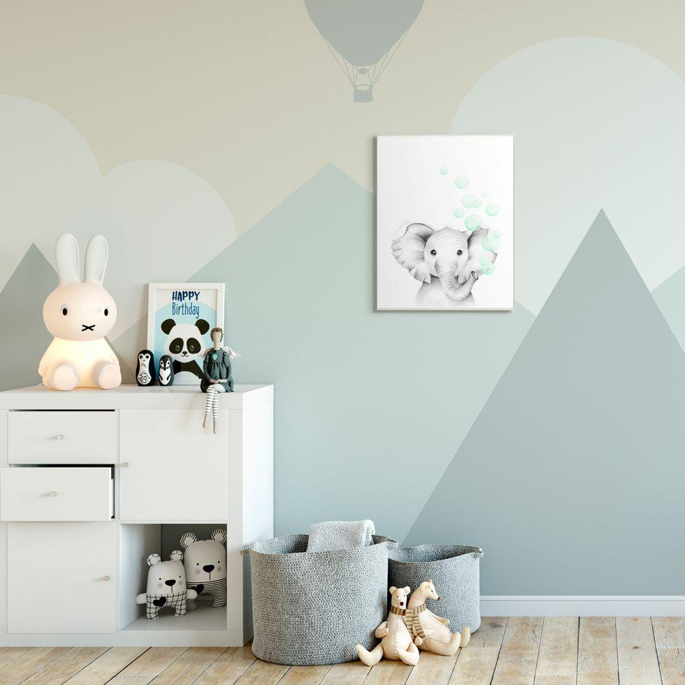The Kids Room By Stupell 12 In X 18 In Cute Cartoon Baby Elephant Zoo Painting By Studio Q Wood Wall Art Brp 2410 Wd 12x18 The Home Depot