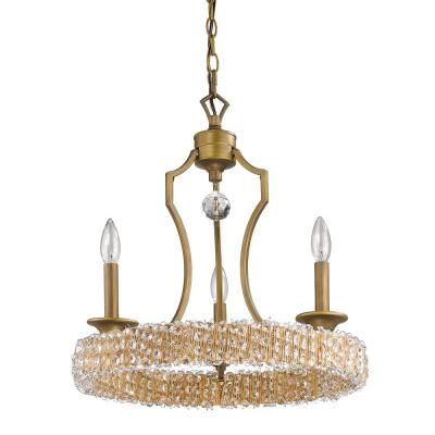 Ava Indoor 3-Light Raw Brass Mini Chandelier with Crystal Pendant