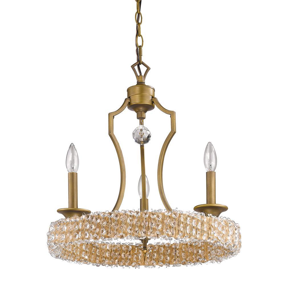Ava Indoor 3-Light Raw Brass Mini Chandelier with Crystal Pendant
