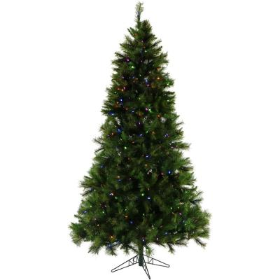 7.5 ft. Pre-lit LED Canyon Pine Artificial Christmas Tree with 550 Multi-Color String Lights