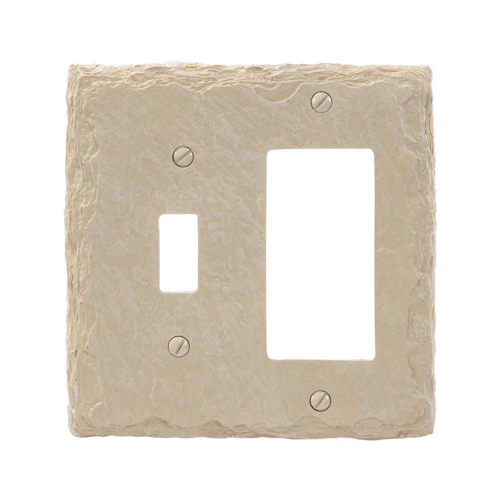 Amerelle Faux Slate 1 Toggle 1 Decora Wall Plate - Almond