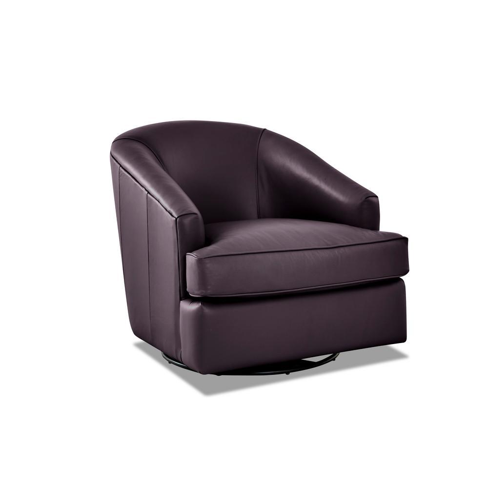 Lamar Leather Swivel Gliding Purple Accent Chair