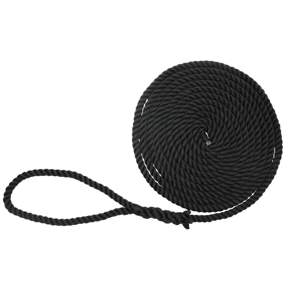 "LOOP 5//8/"" x 35/' BOAT DOCK LINE ROPE BLACK  PREMIUM DOUBLE BRAIDED"