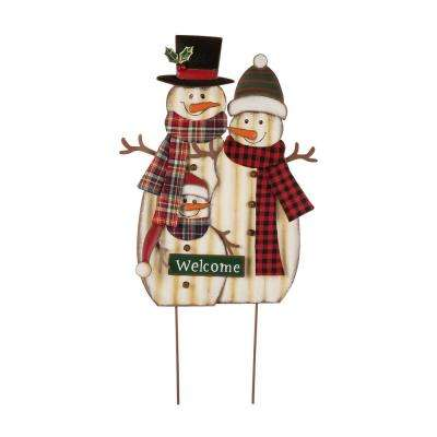 29.92 in. H Metal Christmas Snowman Family Yard Stake
