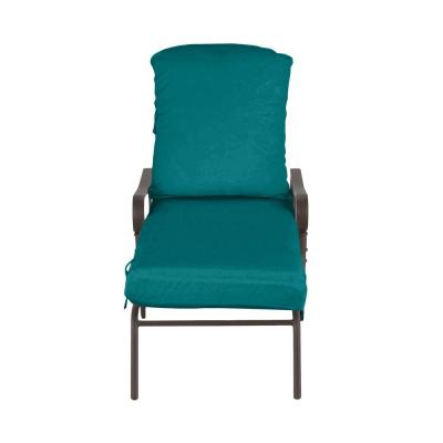 Oak Cliff Brown Steel Outdoor Patio Chaise Lounge with Sunbrella Peacock Blue-Green Cushions