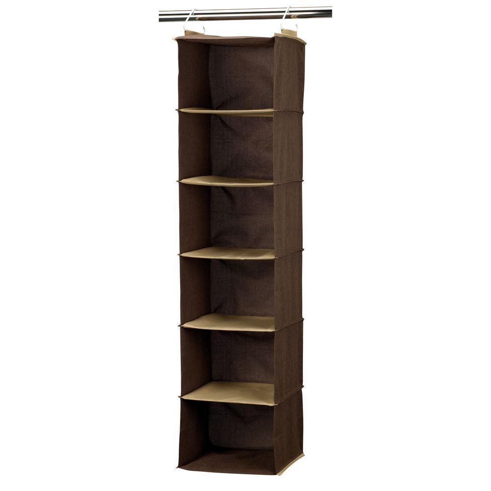 Household Essentials Coffee Linen 6-Shelf Hanging Organizer