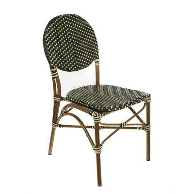 Brown Aluminum Stackable Green and Cream Plastic Wicker Bistro Chair Commercial Grade Outdoor Dining Chair