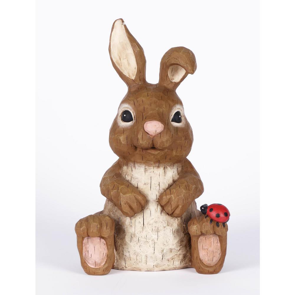 Rabbit Sitting with Ladybug Garden Statue