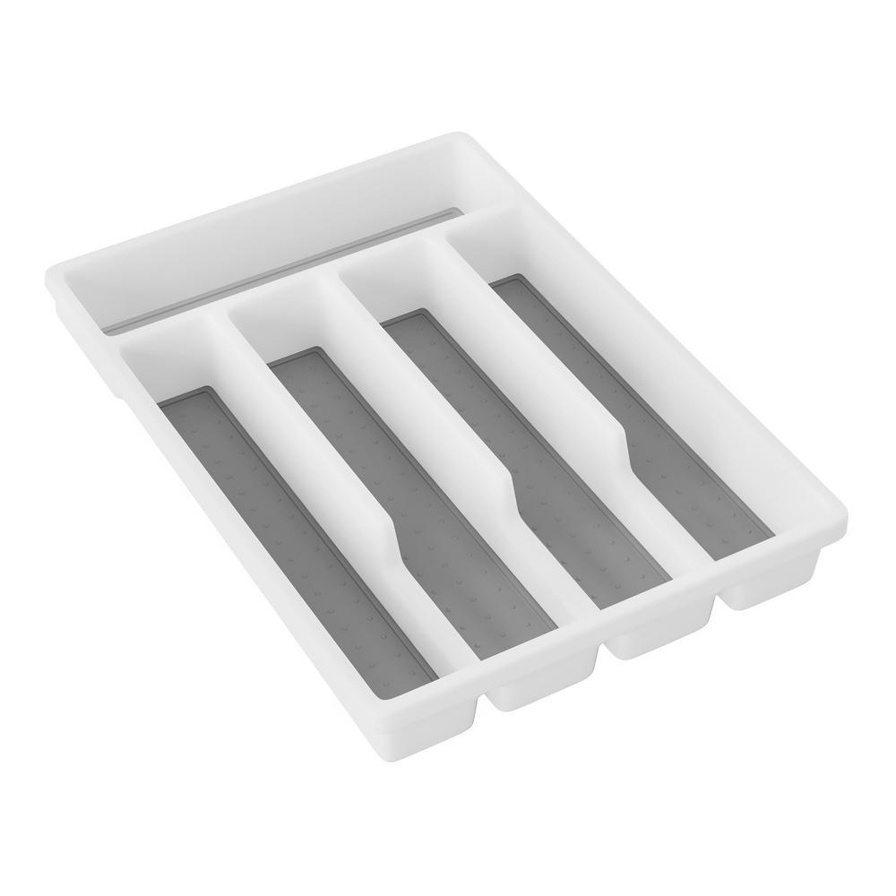 5-Compartment White Silverware Organizer
