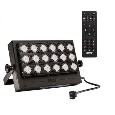 100-Watt Black RGB Color Changing Outdoor Integrated LED IP66 Waterproof Panel Flood Light with Remote Control