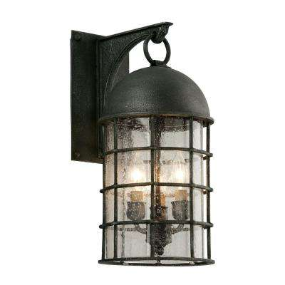 Charlemagne 3-Light Aged Pewter Outdoor Wall Lantern Sconce
