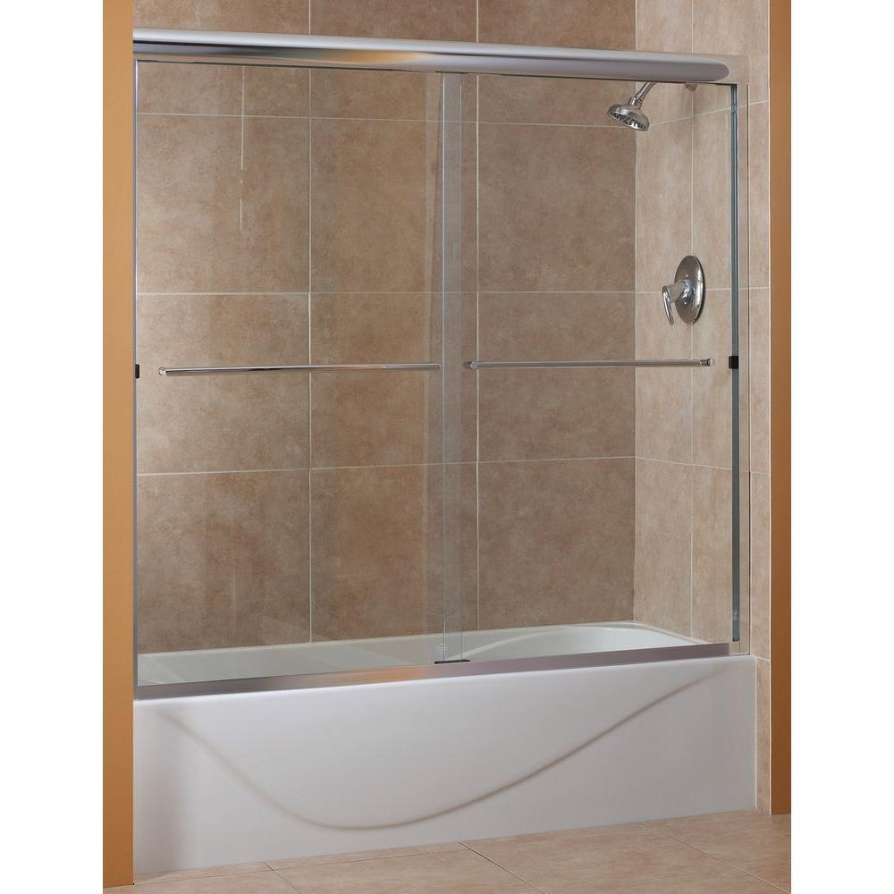 Cove 60 in. x 60 in. Semi-Framed Sliding Tub Door in Silver with 1/4 in. Rain Glass