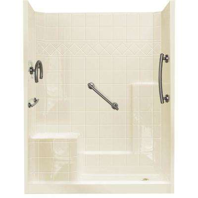 32 in. x 60 in. x 77 in. Freedom Low Threshold 3-Piece Shower Kit in Biscuit Brushed Nickel Package, LHS Seat, RHS Drain