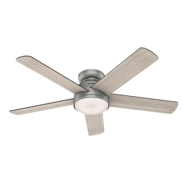 Romulus 54 in. Integrated LED Indoor Matte Silver Low Profile Ceiling Fan with Light Kit and Remote Contro