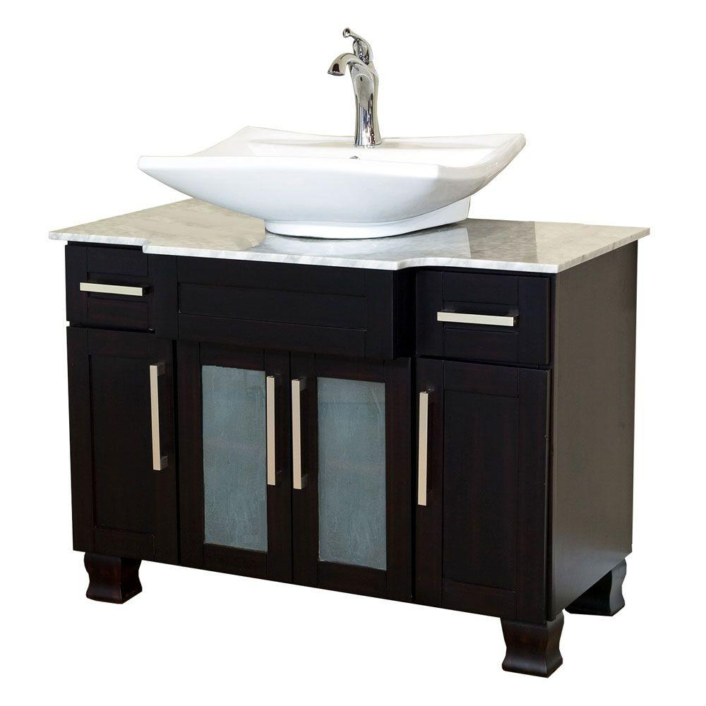 Accara 36 bathroom vanity with drawers espresso w - Bellaterra Home Norwich 40 In W Single Vanity In Dark Mahogany With Marble Vanity Top