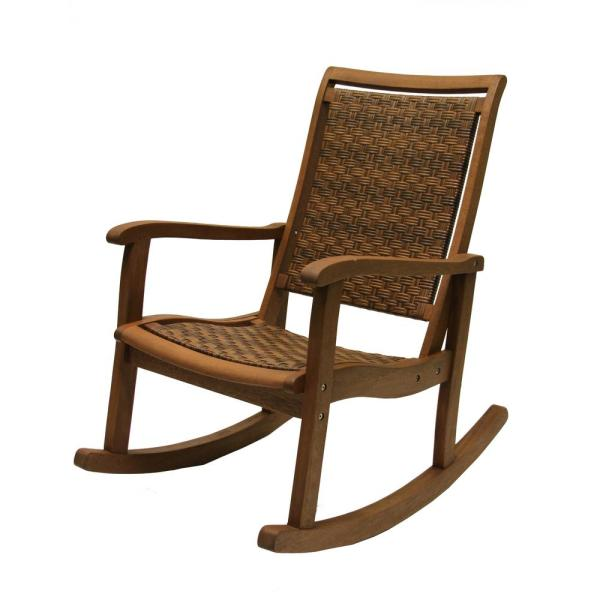 Brown Wicker and Eucalyptus Outdoor Rocking Chair
