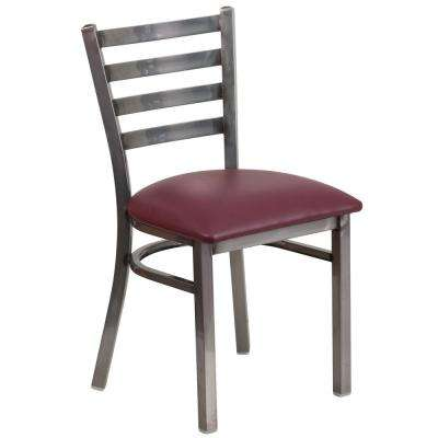 Hercules Series Clear Coated Ladder Back Metal Restaurant Chair with Burgundy Vinyl Seat