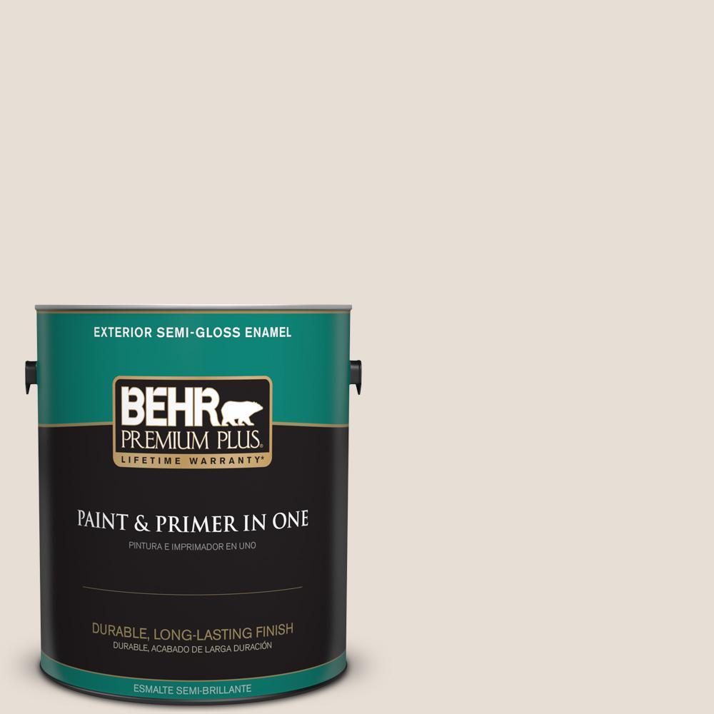 1 gal. #PPU2-04 Pale Cashmere Semi-Gloss Enamel Exterior Paint