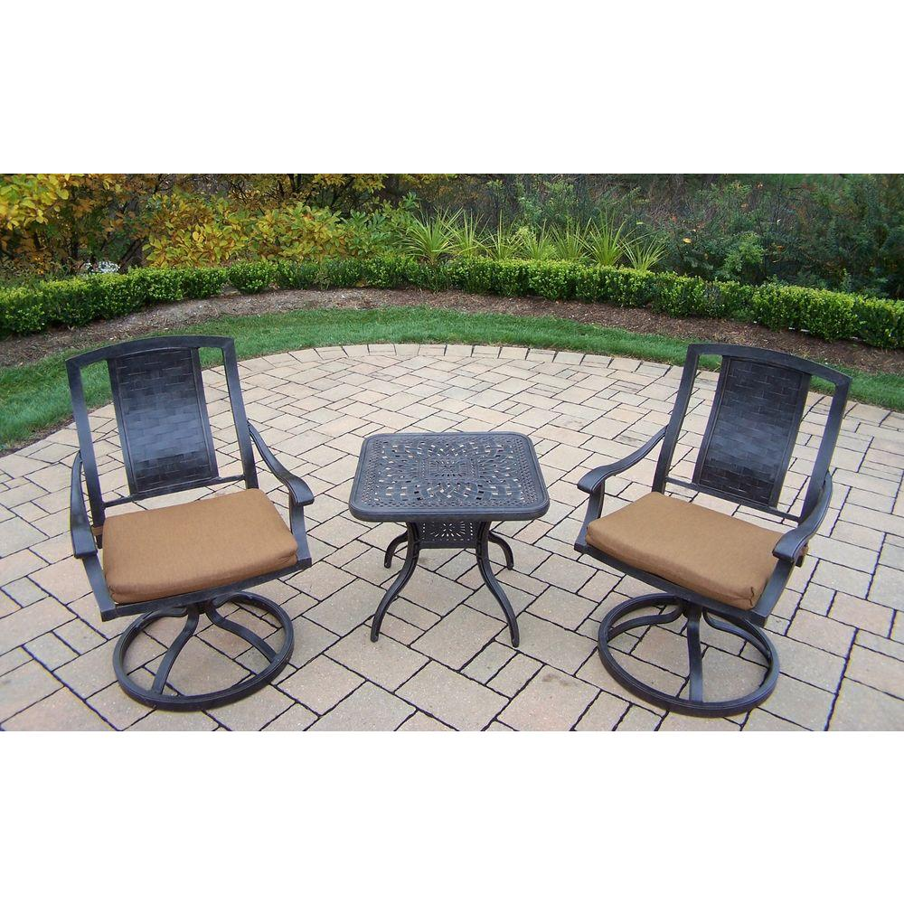 Aluminum 3-Piece Square Patio Bistro Set with Sunbrella Canvas Teak Cushions