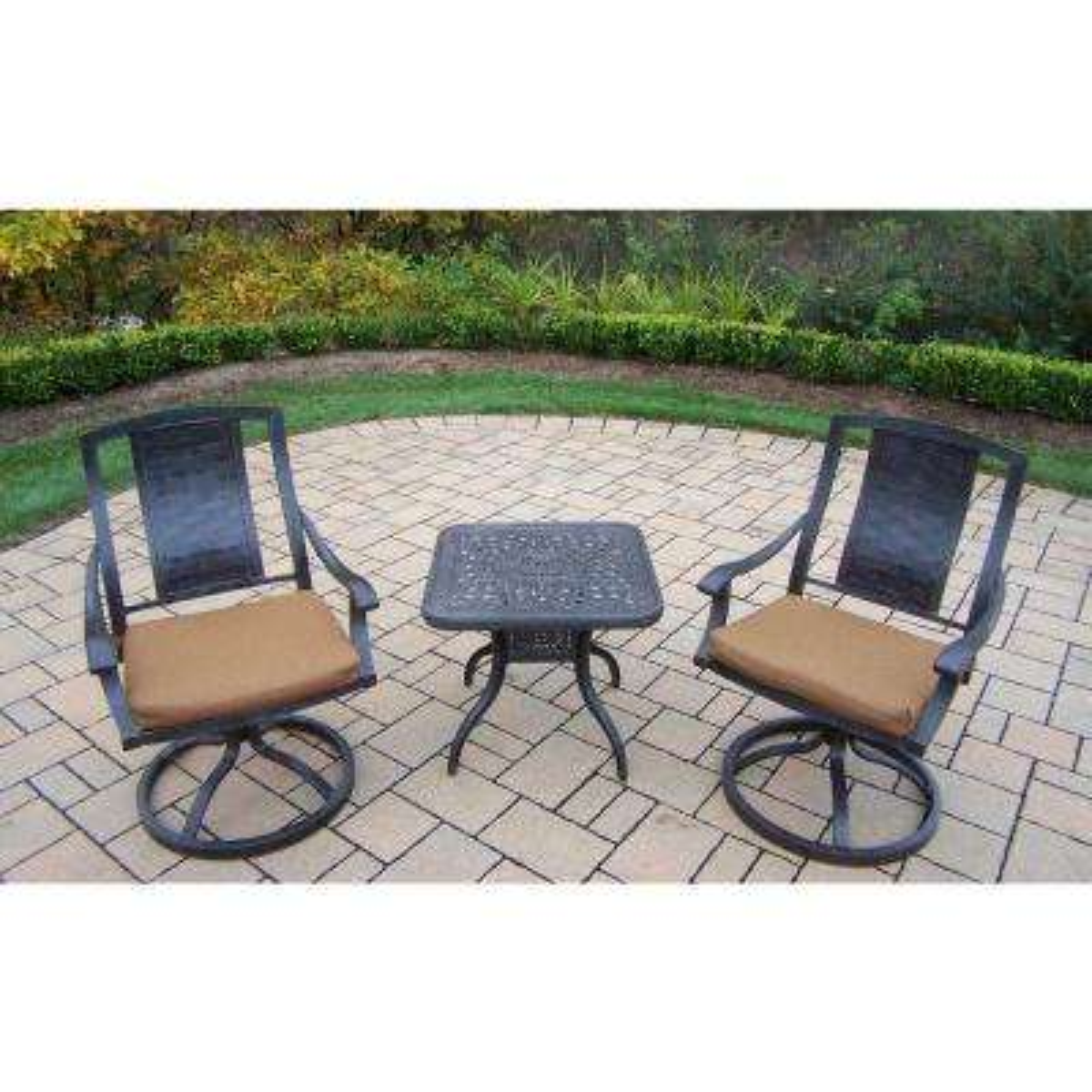 Aluminum 3-Piece Square Patio Bistro Set with Sunbrella Canvas Teak Cushions